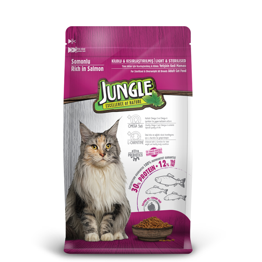 Jungle Adult  Sterilesed Cat Food with Salmon 1,5 kg