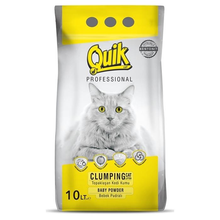 QUIK-BENTONITE CAT LITTER 10 LT BABY POWDER 0,6-2,25 MM *2 PCS*