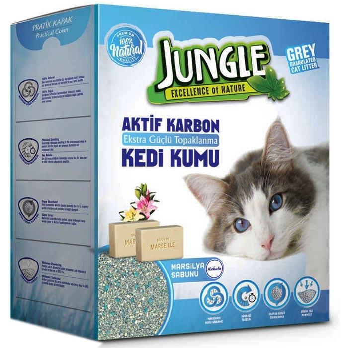 JUNGLE -  6 Lt Activated Carbon Grey Cat Litter Marsellia Soap 3 PCS