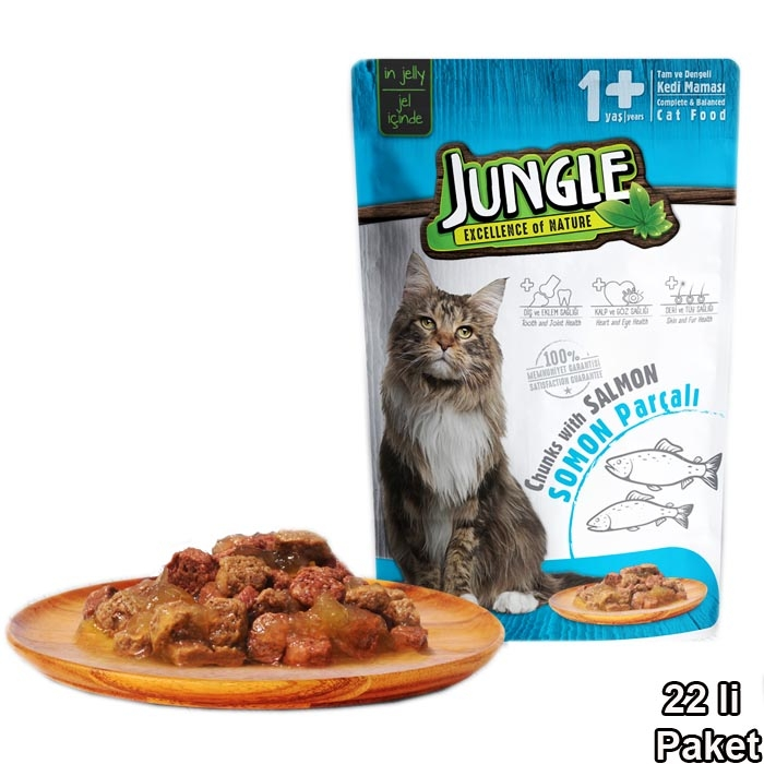 Jungle Pouch 100 g Adult Salmon in Jelly  (22 pcs)
