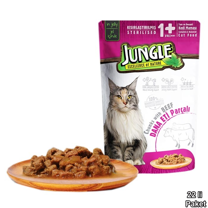 Jungle Pouch 100 g Sterilesed Beef in Jelly  (22 pcs)