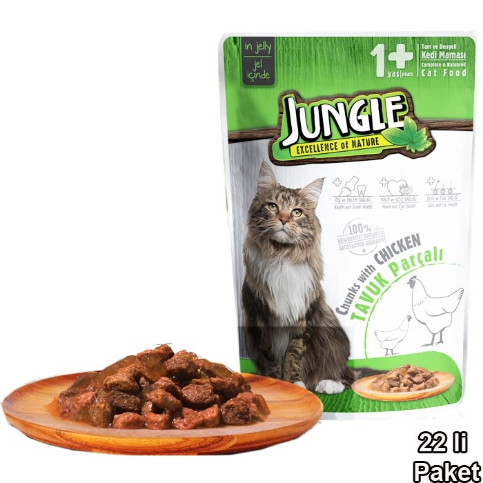 Jungle Pouch 100 g Adult Chicken  in Jelly  (22 pcs)