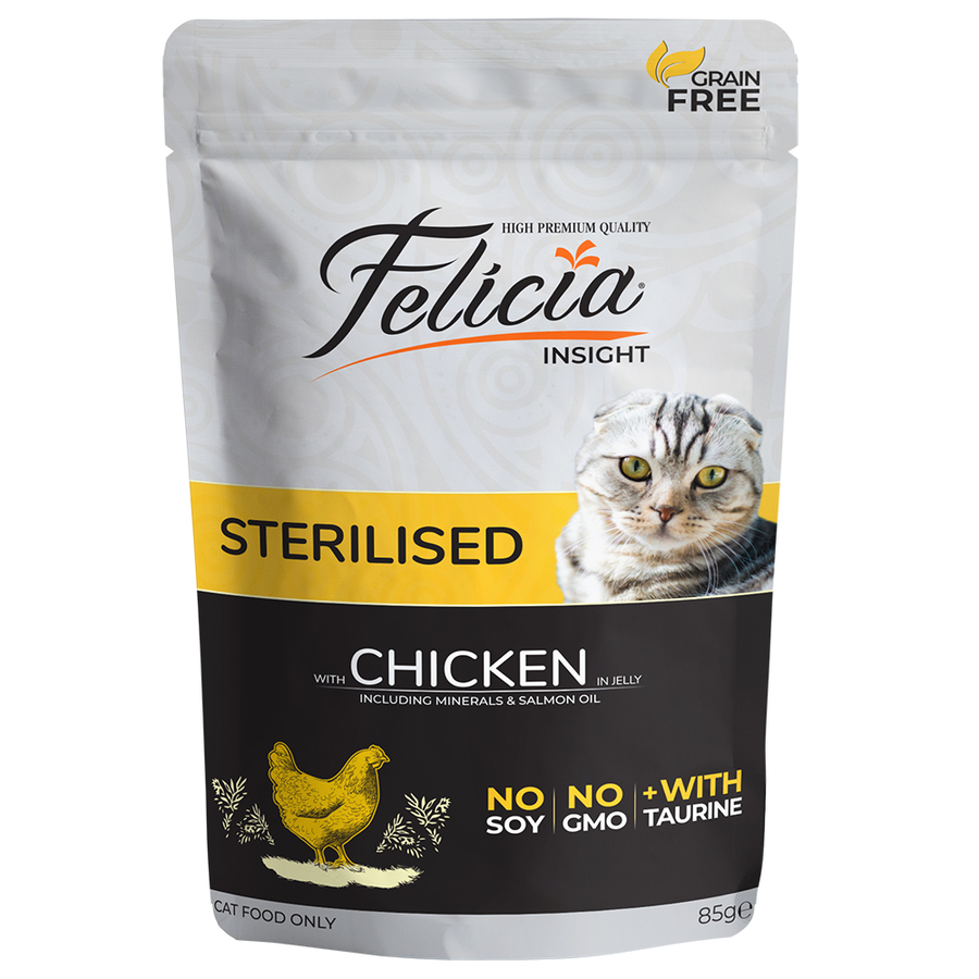 Felicia Complete canned pet food for sterilized cats with chicken in jelly 85gr