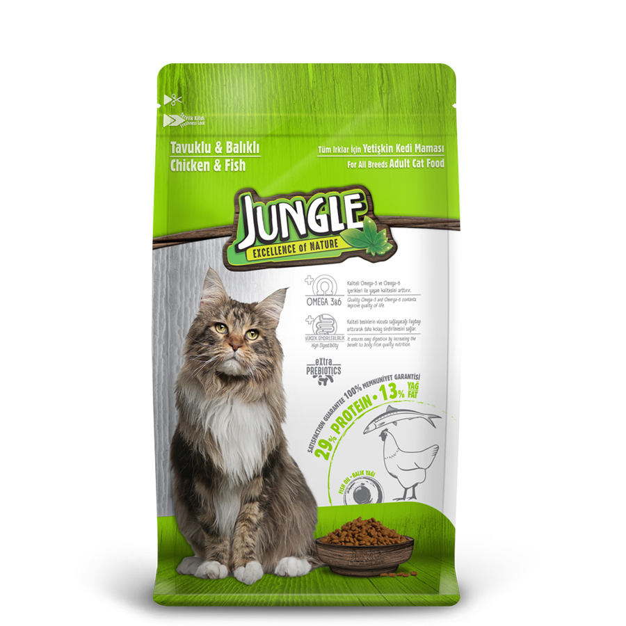 Jungle Adult Cat Food with Chicken-Fish 15 kg